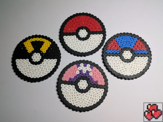 Pokeball-Greatball-Ultraball-Masterball-Pixel-Art-Design-Pattern-Drink-Coasters
