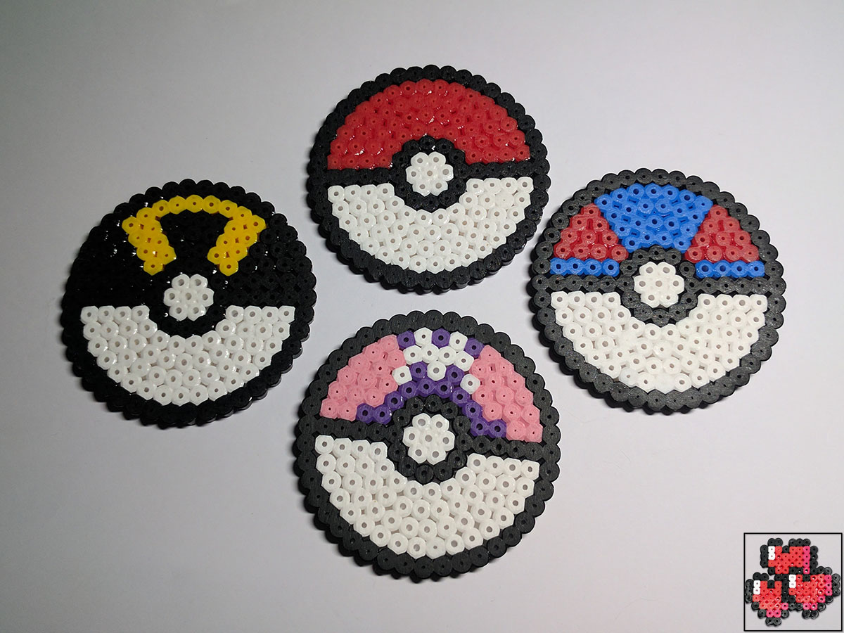 Pokeball-Greatball-Ultraball-Masterball-Pixel-Art-Design-Pattern-Drink-Coasters